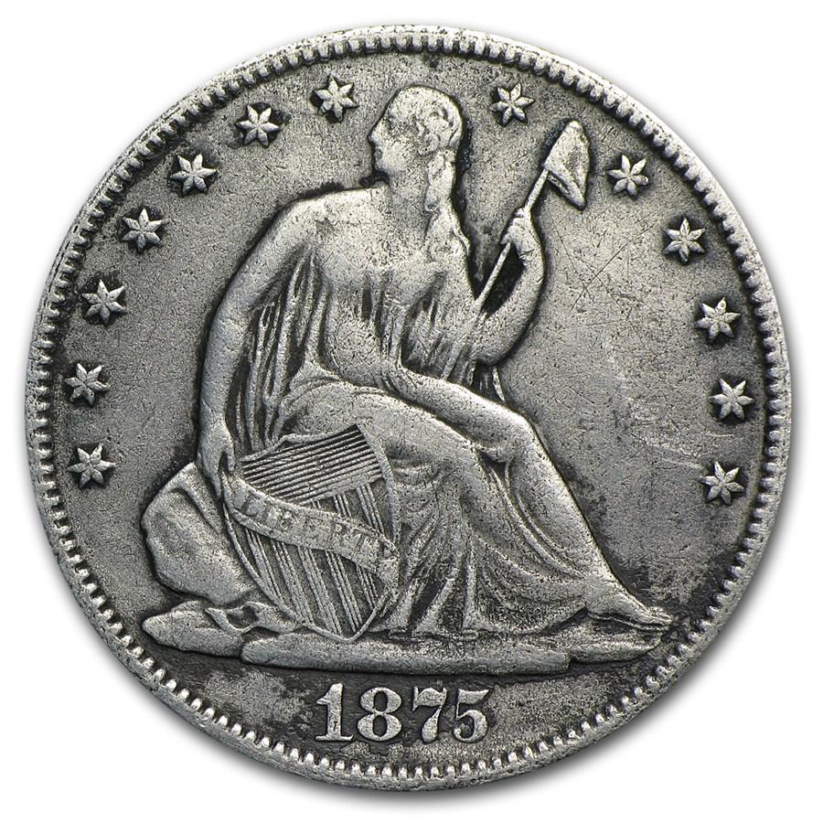 1875 Liberty Seated Half Dollar VF Details