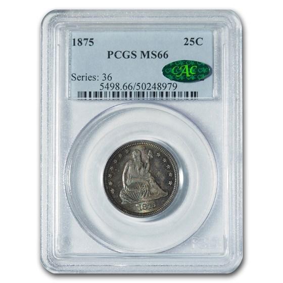 1875 Liberty Seated Quarter MS-66 PCGS CAC