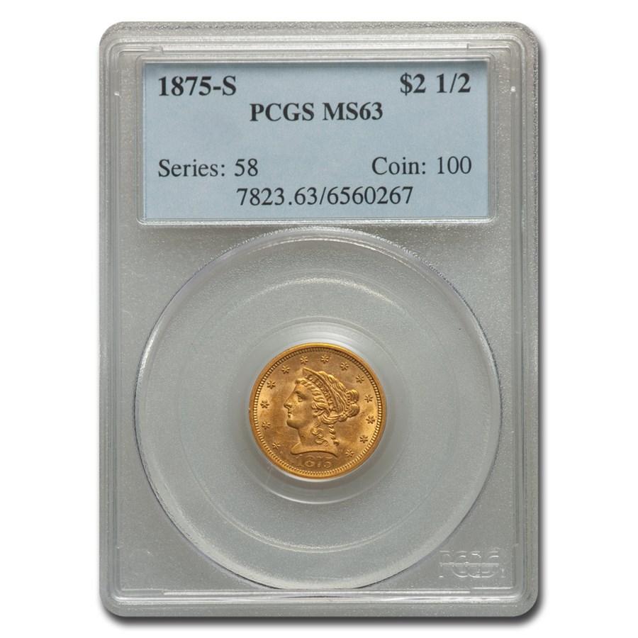 1875-S $2.50 Liberty Gold Quarter Eagle MS-63 PCGS
