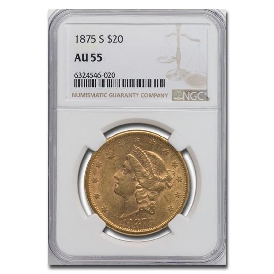 1875-S $20 Liberty Gold Double Eagle AU-55 NGC