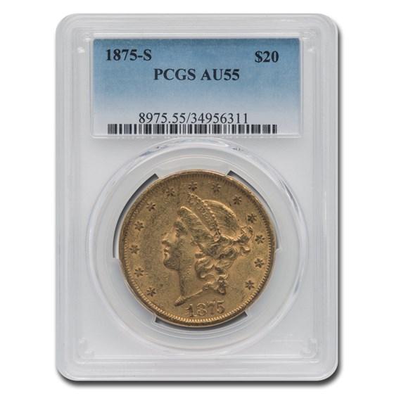 1875-S $20 Liberty Gold Double Eagle AU-55 PCGS