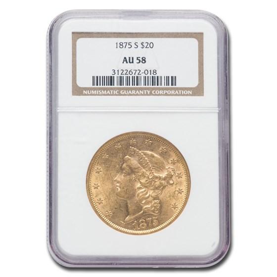 1875-S $20 Liberty Gold Double Eagle AU-58 NGC
