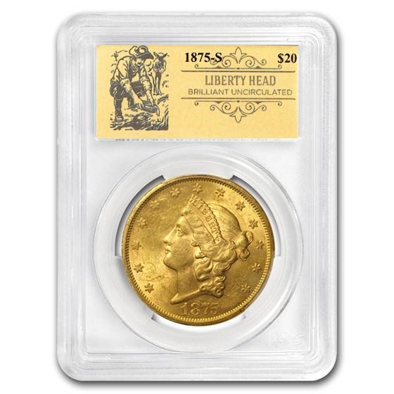 1875-S $20 Liberty Gold Double Eagle BU PCGS (Prospector Label)