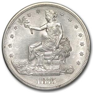 1875-S Trade Dollar AU-55 Details (Cleaned, Chopmark)