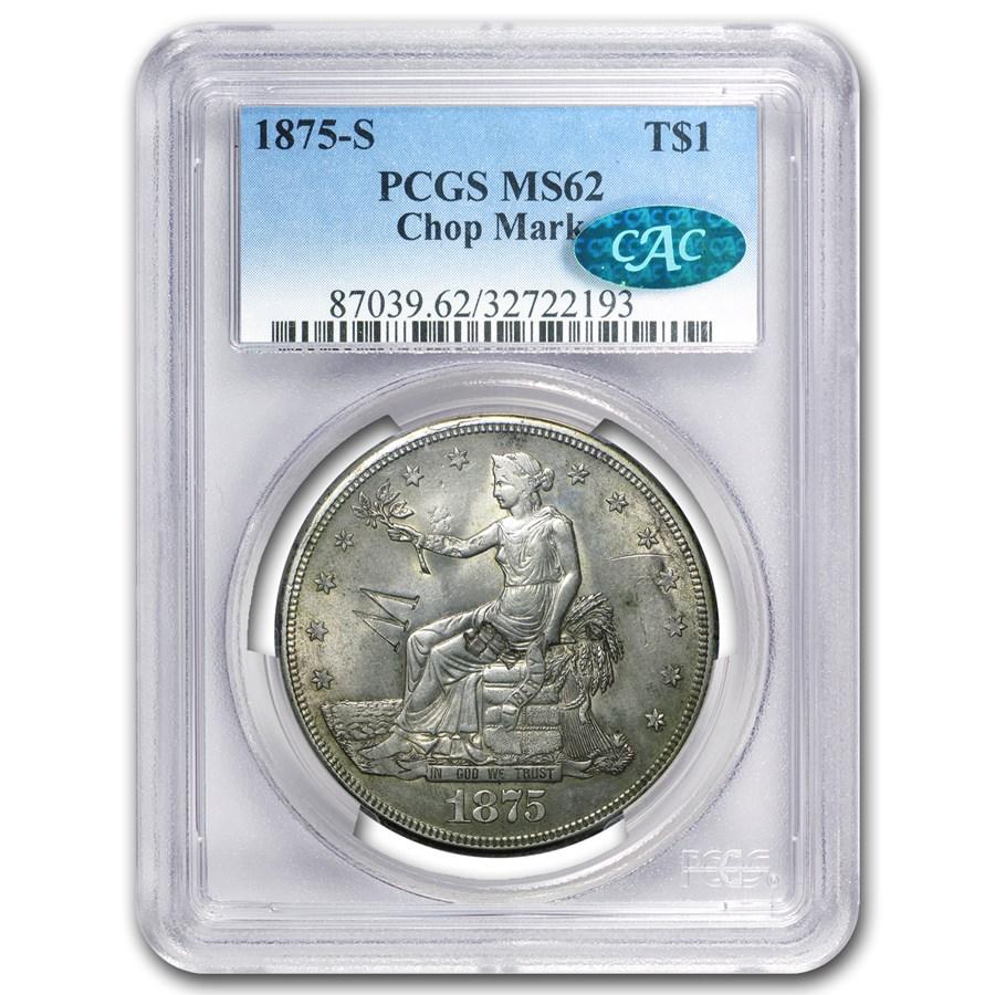 1875-S Trade Dollar MS-62 Chopmarks PCGS (CAC)