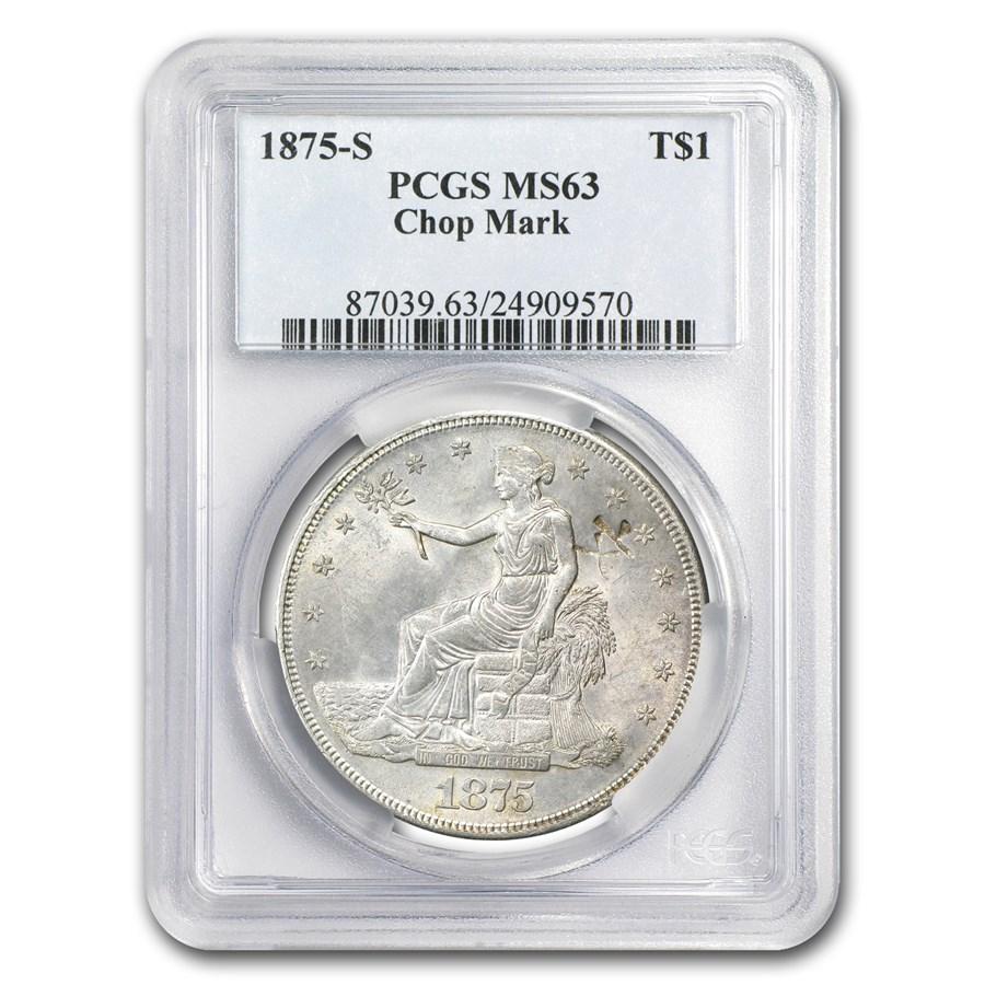 1875-S Trade Dollar MS-63 PCGS (Chopmark)