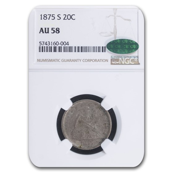 1875-S Twenty Cent Piece AU-58 NGC CAC