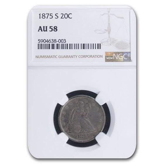 1875-S Twenty Cent Piece AU-58 NGC