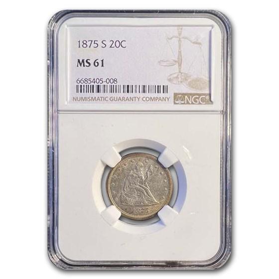 1875-S Twenty Cent Piece MS-61 NGC