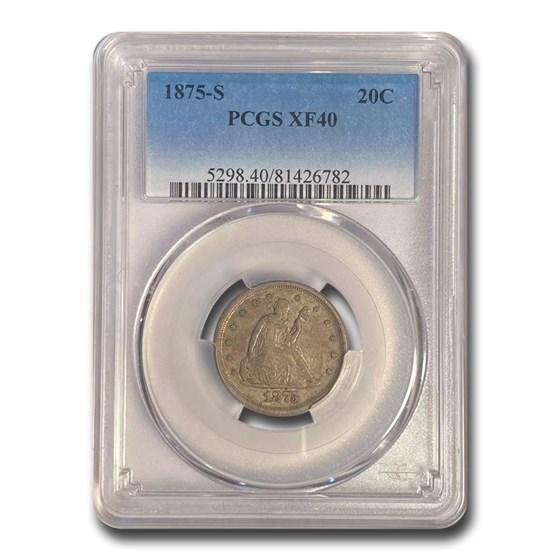 1875-S Twenty Cent Piece XF-40 PCGS