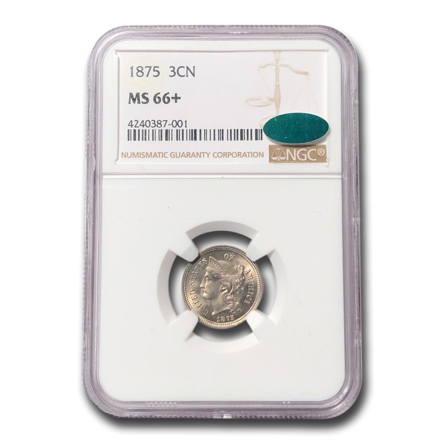 1875 Three Cent Nickel MS-66+ NGC CAC