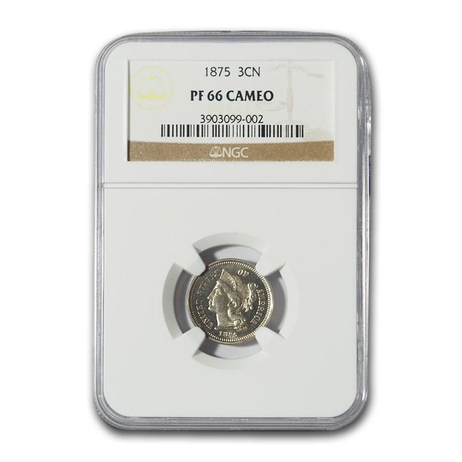 1875 Three Cent Nickel PF-66 Cameo NGC