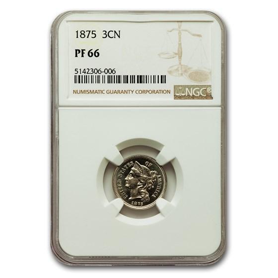 1875 Three Cent Nickel PF-66 NGC