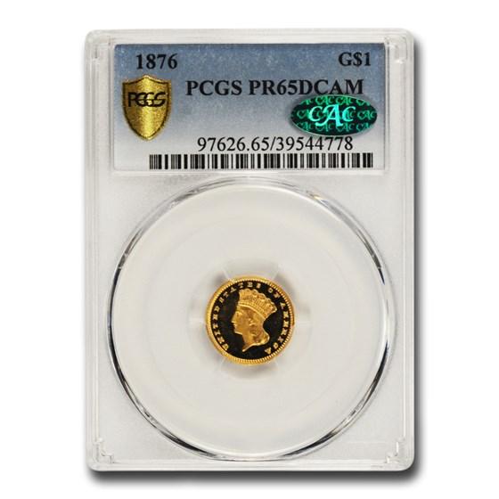 1876 $1 Indian Head Gold Dollar PR-65 DCAM PCGS CAC
