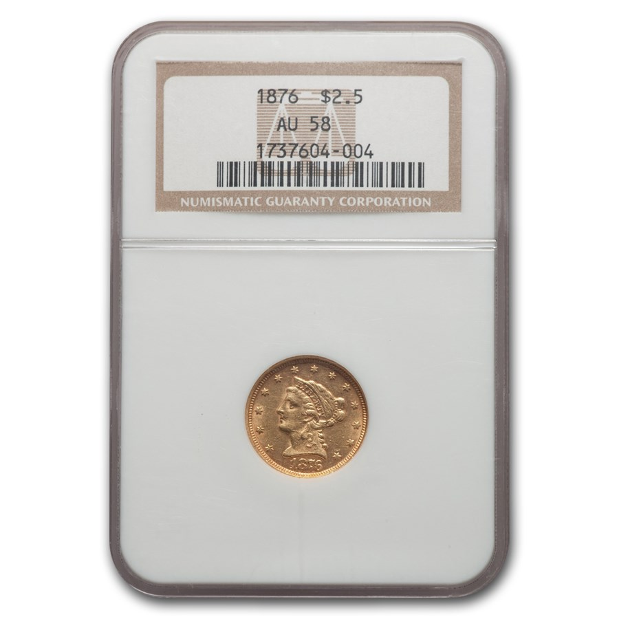 1876 $2.50 Liberty Gold Quarter Eagle AU-58 NGC