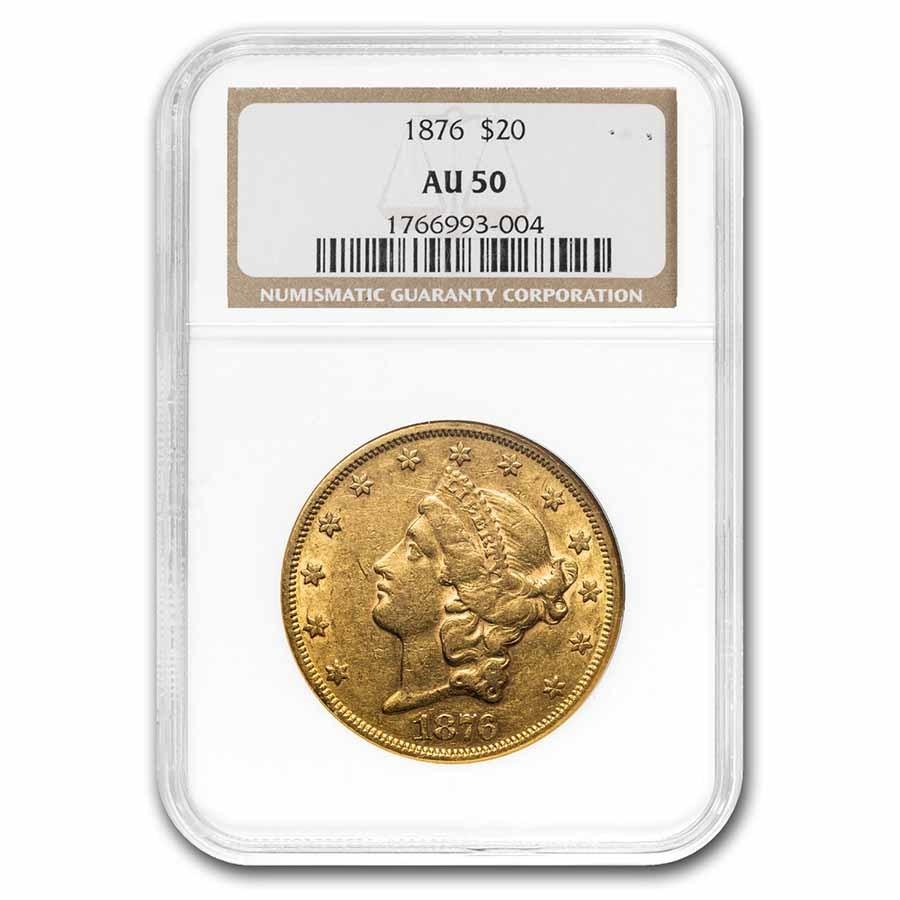 1876 $20 Liberty Gold Double Eagle AU-50 NGC