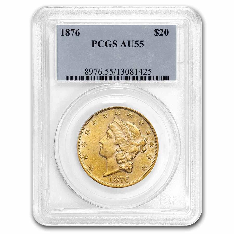 1876 $20 Liberty Gold Double Eagle AU-55 PCGS