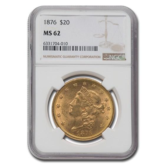 1876 $20 Liberty Gold Double Eagle MS-62 NGC