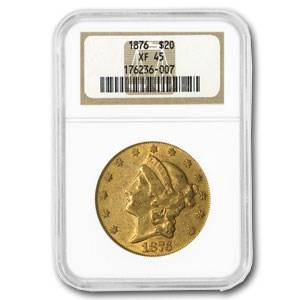 1876 $20 Liberty Gold Double Eagle XF-45 NGC