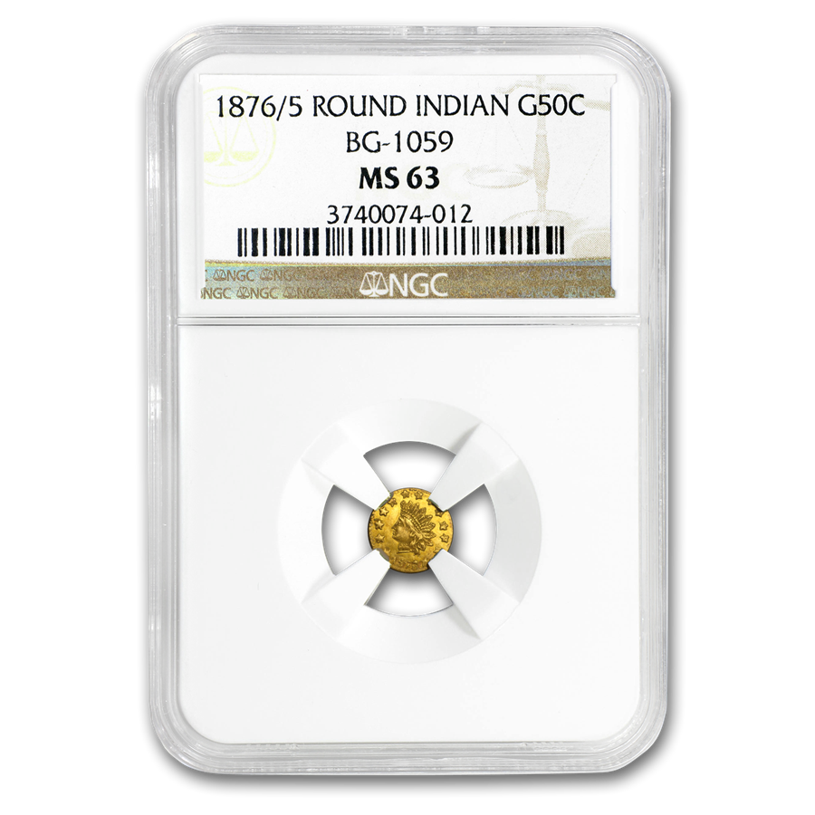 1876/5 Indian Round 50 Cent Gold MS-63 NGC (BG-1059)
