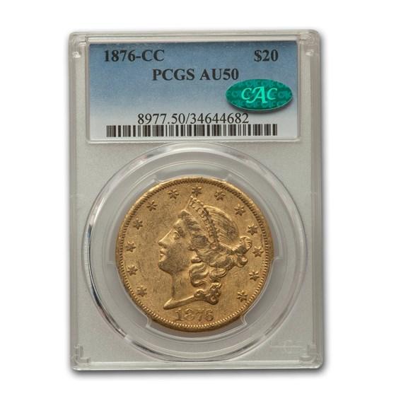 1876-CC $20 Liberty Gold Double Eagle AU-50 PCGS CAC