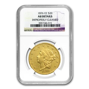 1876-CC $20 Liberty Gold Double Eagle AU Details NGC (Cleaned)
