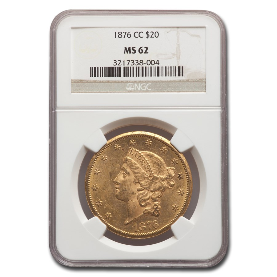1876-CC $20 Liberty Gold Double Eagle MS-62 NGC