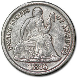 1876-CC Liberty Seated Dime VF Details (Cleaned)
