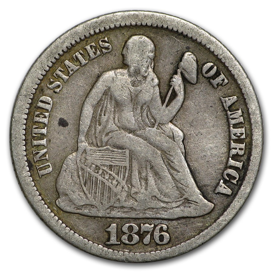 1876-CC Liberty Seated Dime VF