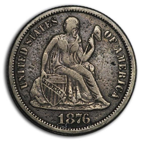 1876-CC Liberty Seated Dime XF