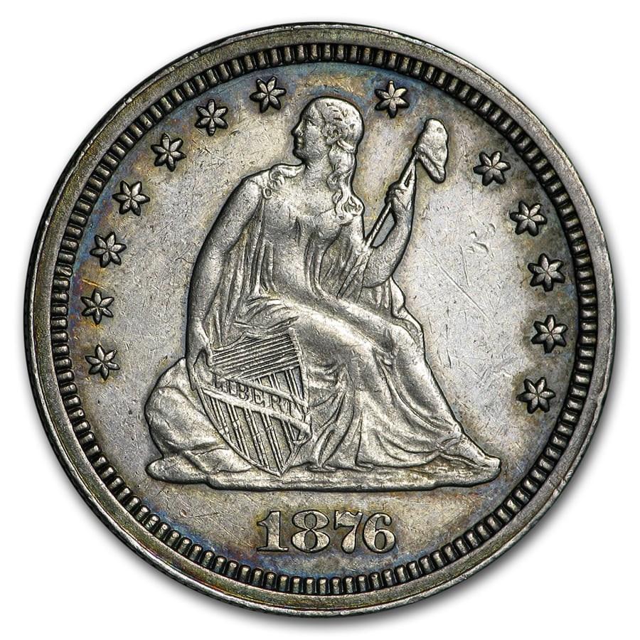 1876-CC Liberty Seated Quarter AU