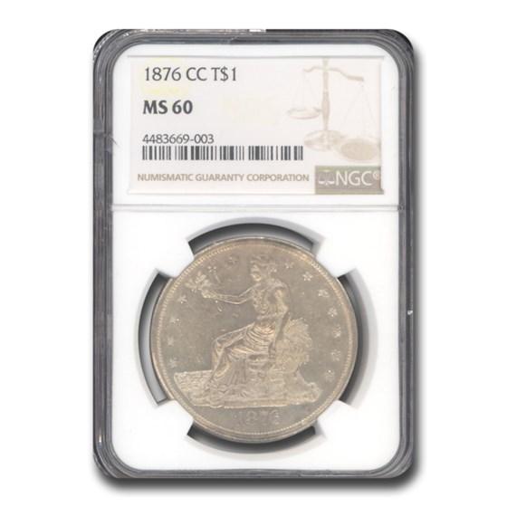 1876-CC Trade Dollar MS-60 NGC
