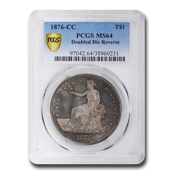 1876-CC Trade Dollar MS-64 PCGS (Doubled Die Reverse)