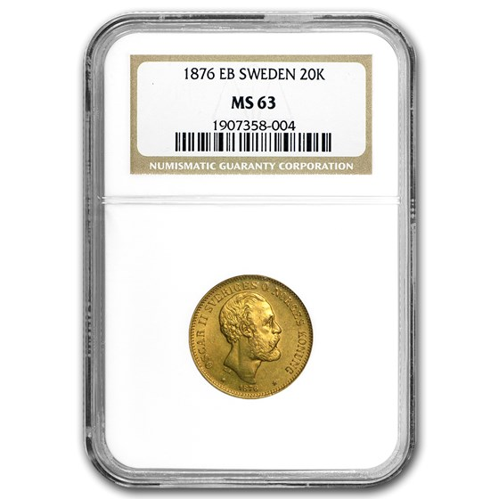 1876 EB Sweden Gold 20 Kronor MS-63 NGC