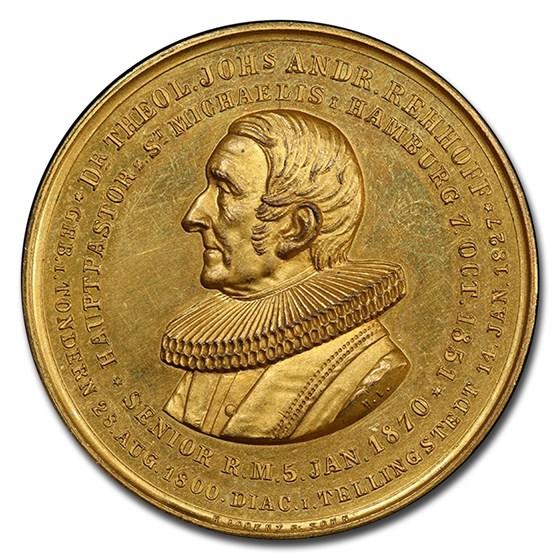 1876 German States Hamburg Gilt AE Medal SP-63 PCGS