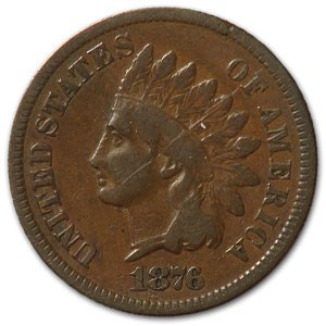1876 Indian Head Cent Fine