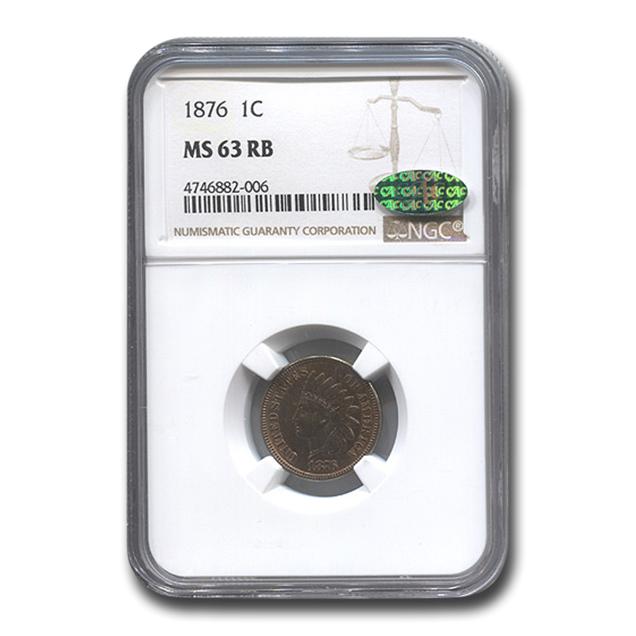 1876 Indian Head Cent MS-63 NGC CAC (Red/Brown)