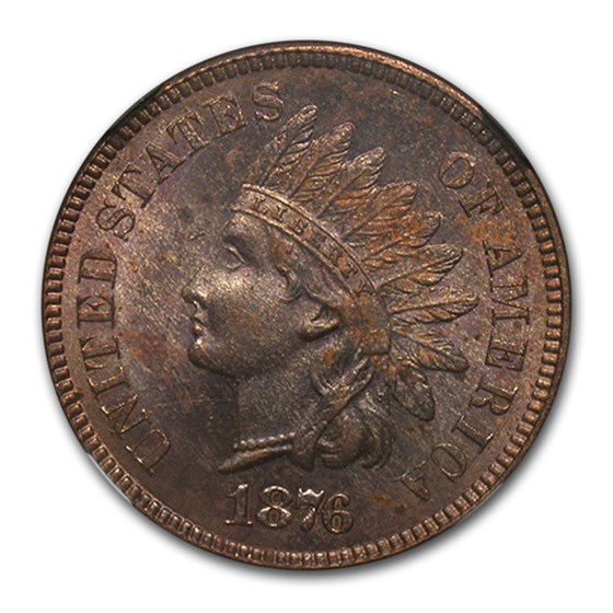 1876 Indian Head Cent MS-63 NGC (Red/Brown)