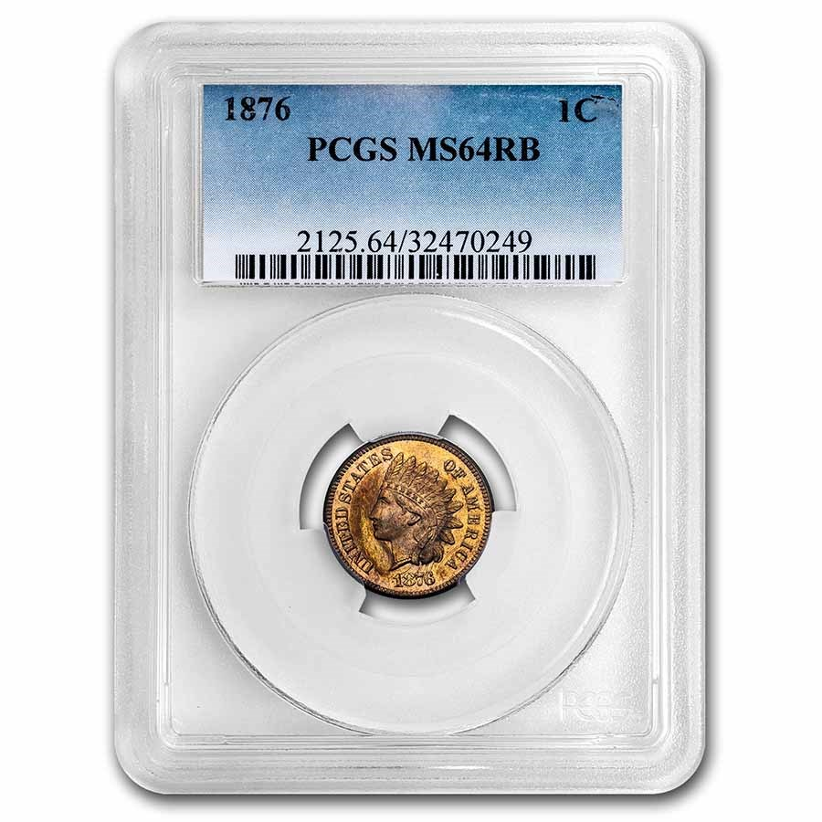 1876 Indian Head Cent MS-64 PCGS (Red/Brown)