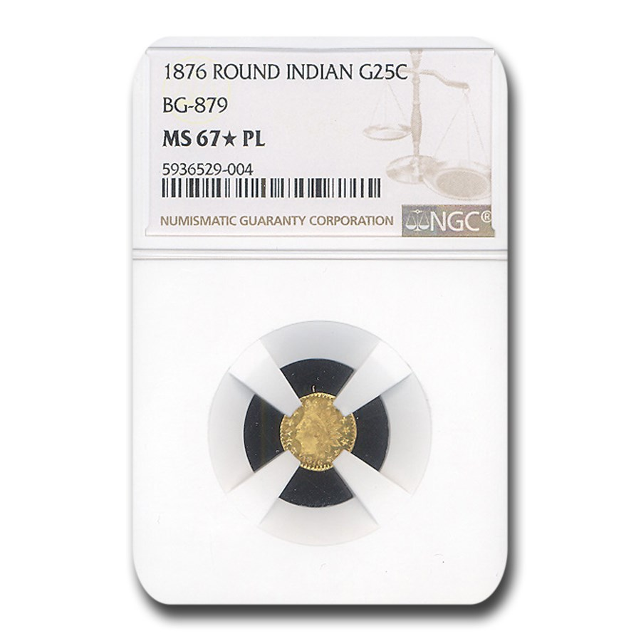 1876 Indian Round 25 Cent Gold MS-67* NGC (PL, BG-879)