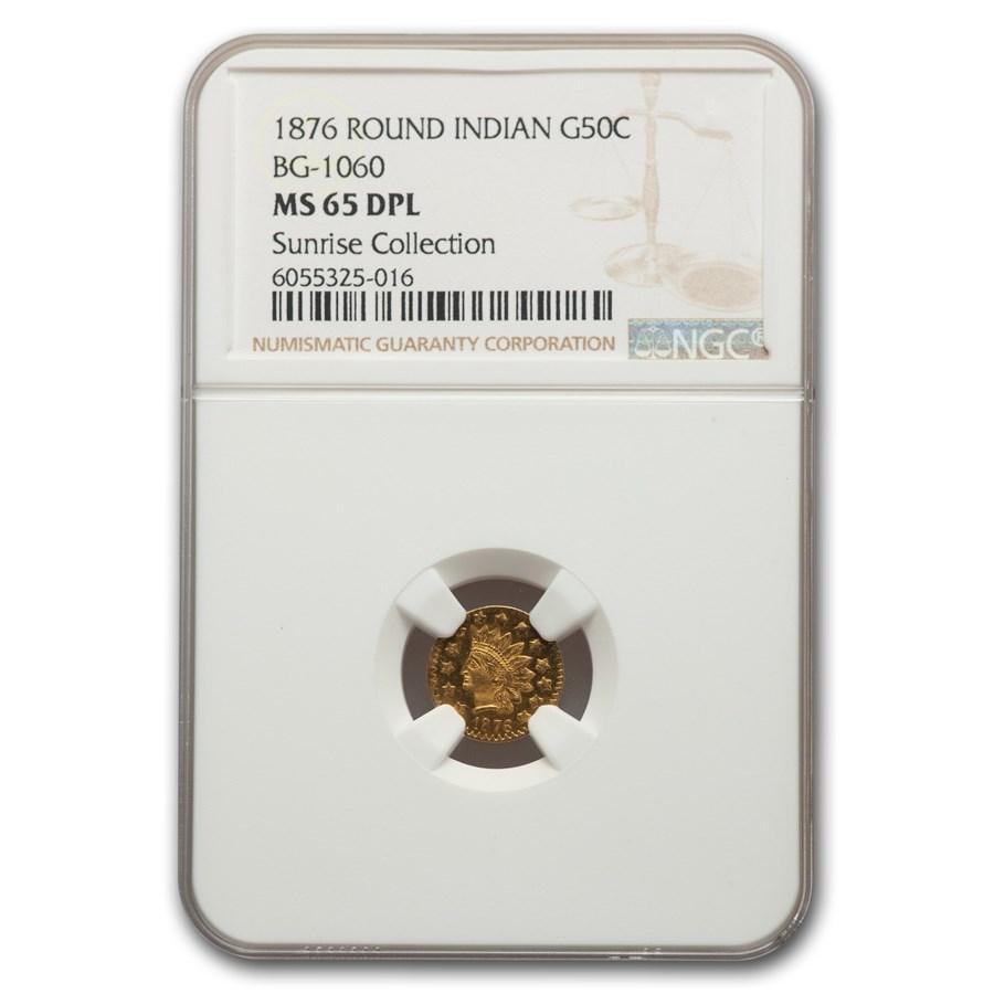 1876 Indian Round 50 Cent Gold MS-65 NGC (DPL, BG-1060)
