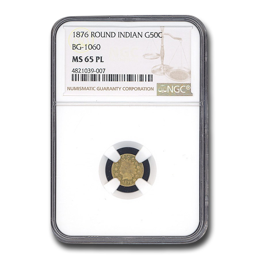 1876 Indian Round 50 Cent Gold MS-65 NGC (PL, BG-1060)