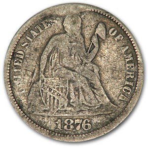 1876 Liberty Seated Dime VG