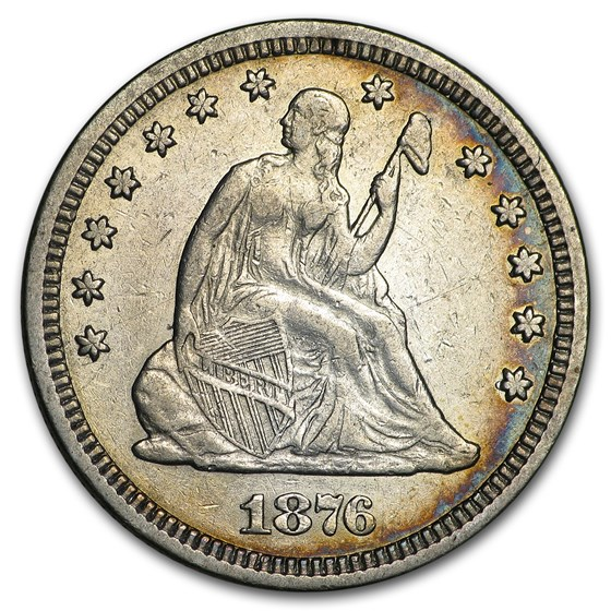 1876 Liberty Seated Quarter AU