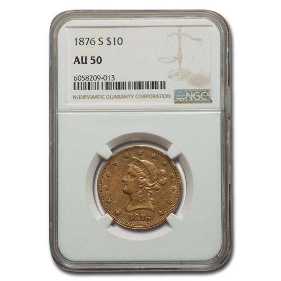 1876-S $10 Liberty Gold Eagle AU-50 NGC