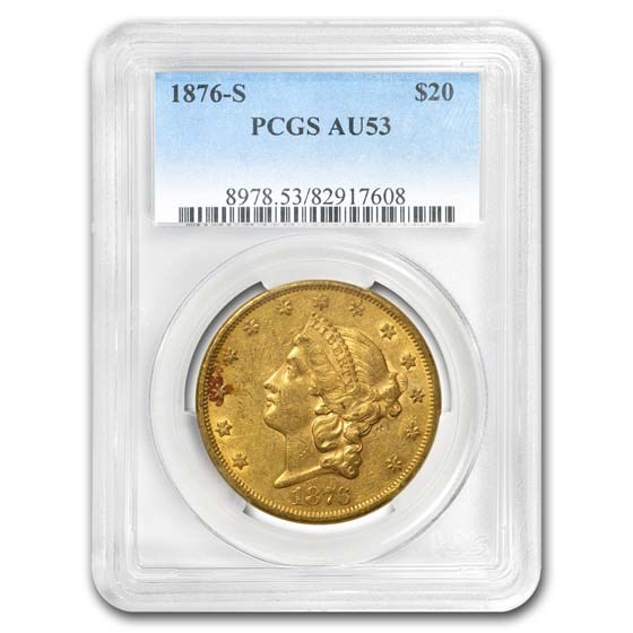 1876-S $20 Liberty Gold Double Eagle AU-53 PCGS
