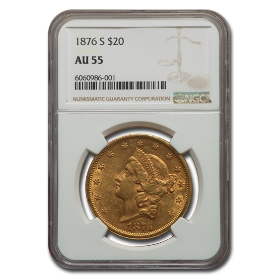1876-S $20 Liberty Gold Double Eagle AU-55 NGC