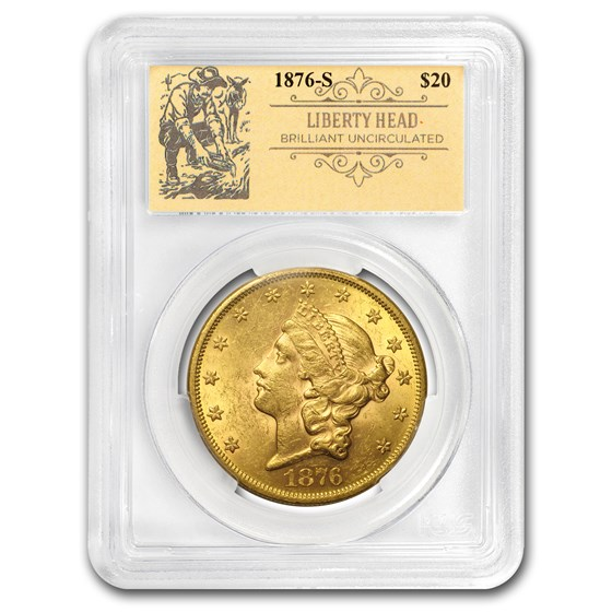 1876-S $20 Liberty Gold Double Eagle BU PCGS (Prospector Label)