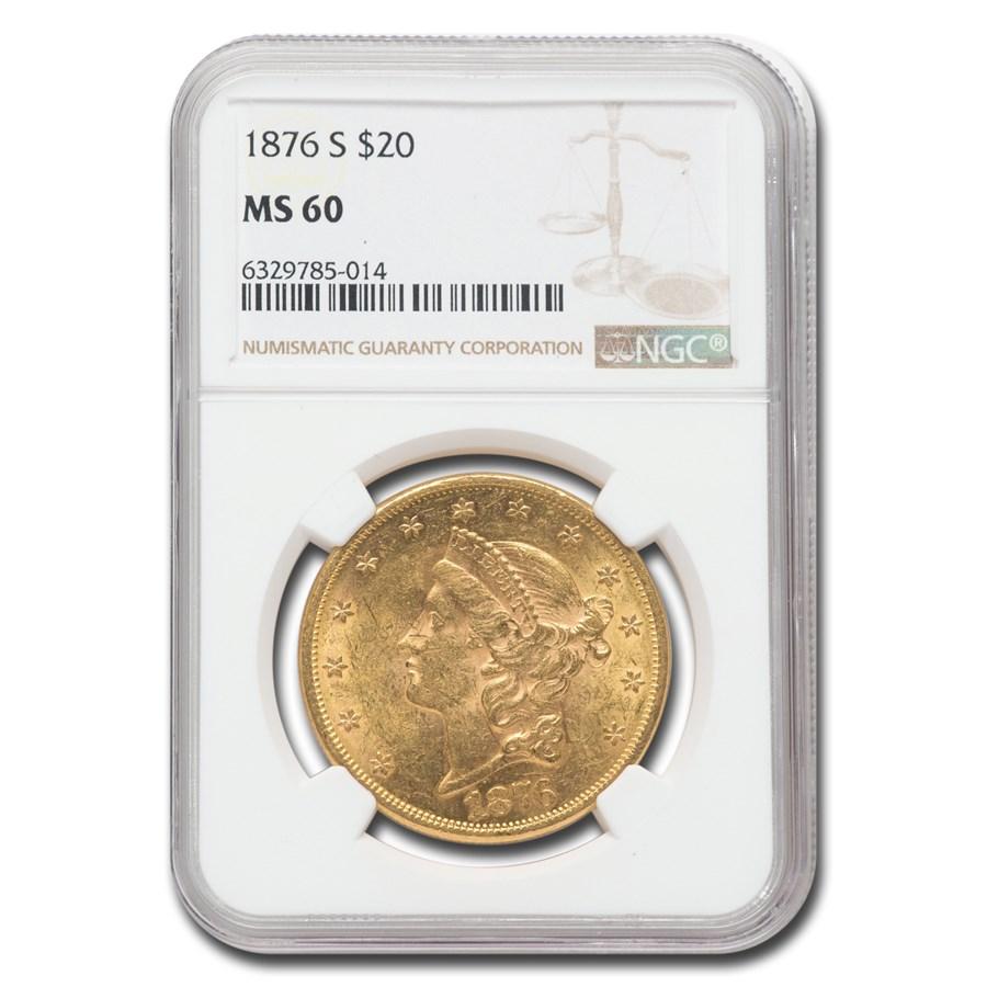 1876-S $20 Liberty Gold Double Eagle MS-60 NGC