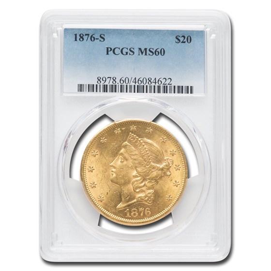 1876-S $20 Liberty Gold Double Eagle MS-60 PCGS